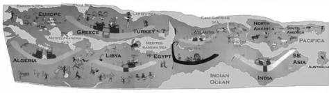Egyptian map showing aboriginal - 3,300 bc - based on mural from Hierakonpolis tomb mural
