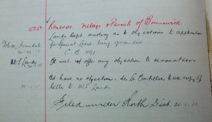 extract from State Archives of Aboriginal Reserve at Brunswick - 2029
