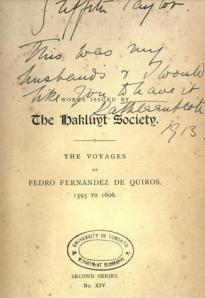 voyages of Pedro Fernandez de Quiro 1595 to 1606